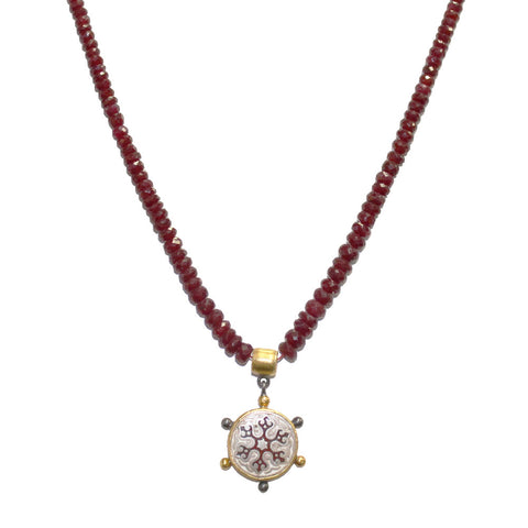 Raw Ruby Necklace with 24k and Sterling Silver Pendant
