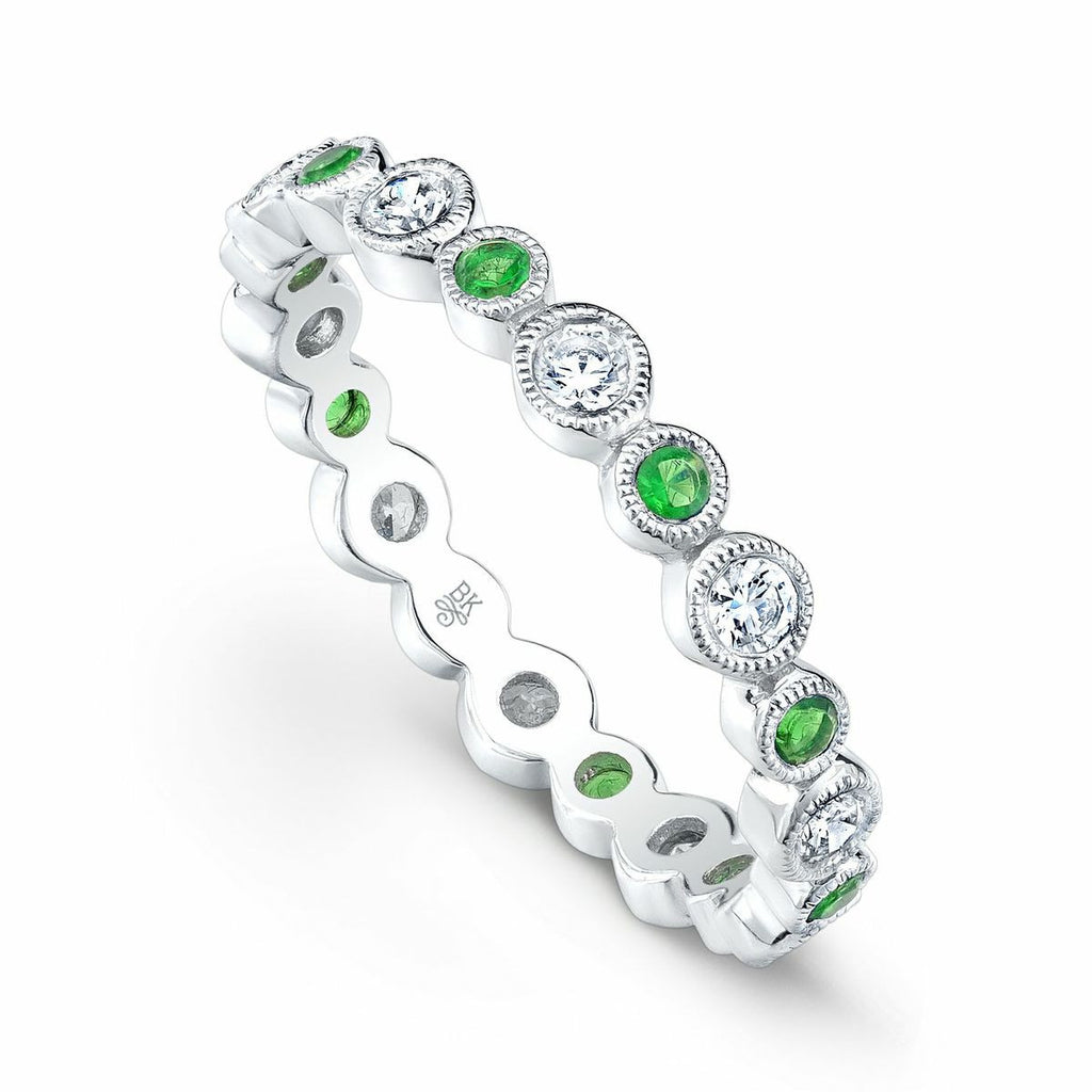 Diamond and Tsavorite Stacking Ring