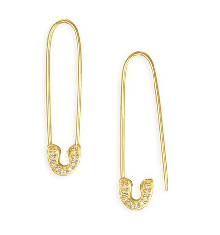 Gold & Diamond Safety Pin Earrings