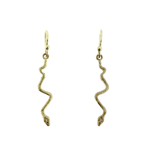 Tiny Snake Earrings with Diamond Accent