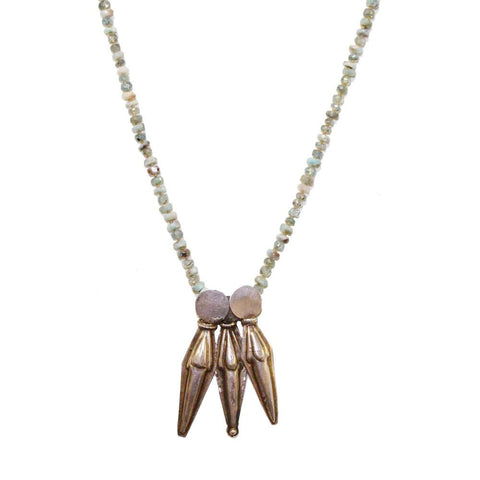 Opal and Aquamarine Three Spike Necklace