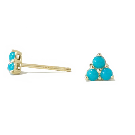 Trinity Turquoise Cluster Stud Earrings