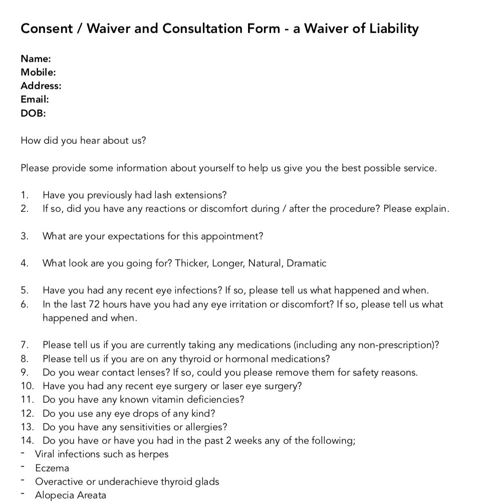 FREE Sample Client Waiver Form
