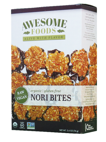 AWESOME FOODS | Nori Bites, Raw [Gluten Free] [Organic] [2.60oz ]
