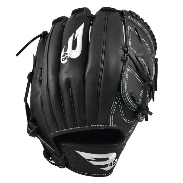 "B45 Baseball Fielding Gloves Right-Hand Throw / Black with White logo Pro Series 12"" 2-Piece Web Baseball Glove"