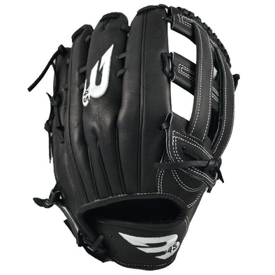 "B45 Baseball Fielding Gloves Right-Hand Throw / Black with White logo Pro Series 12.75"" H-Web Baseball Glove"