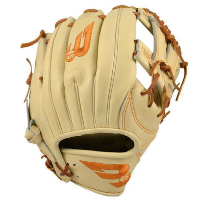 "B45 Baseball Fielding Gloves Right-Hand Throw / Blonde/Tan with Burnt Orange logo Pro Series 11.5"" V-Web Baseball Glove"