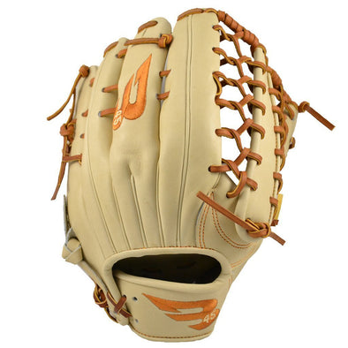 "B45 Baseball Fielding Gloves Right-Hand Throw / Blonde/Tan with Burnt Orange logo Pro Series 12.75"" Trap Web Baseball Glove"
