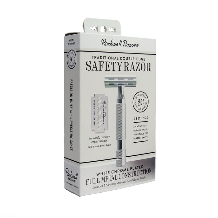 Rockwell Razors 2C Double Edge Razor - White Chrome, Double Edge Safety Razors