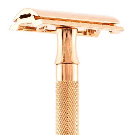 Merkur Double Edge Safety Razor, Straight Cut, Double Extra Long Handle, Gold