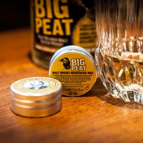 Captain Fawcett's Big Peat Islay Malt Whisky Moustache Wax - 15ML / 0.5 FL OZ, Mustache Combs