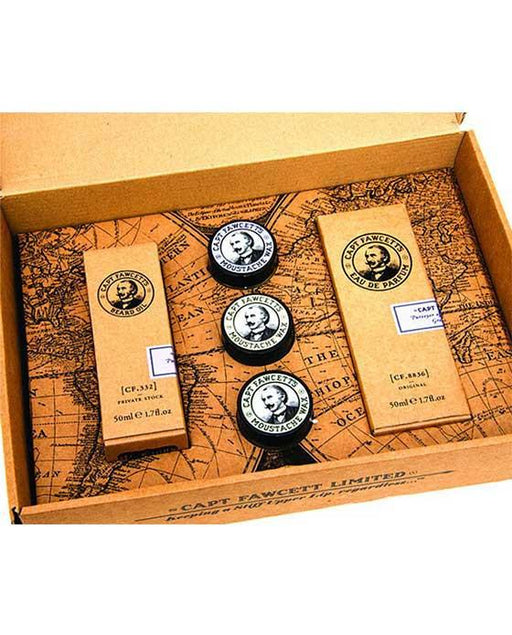 Captain Fawcett's Perfum, Wax & Beard Oil Gift Set, Mustache Wax