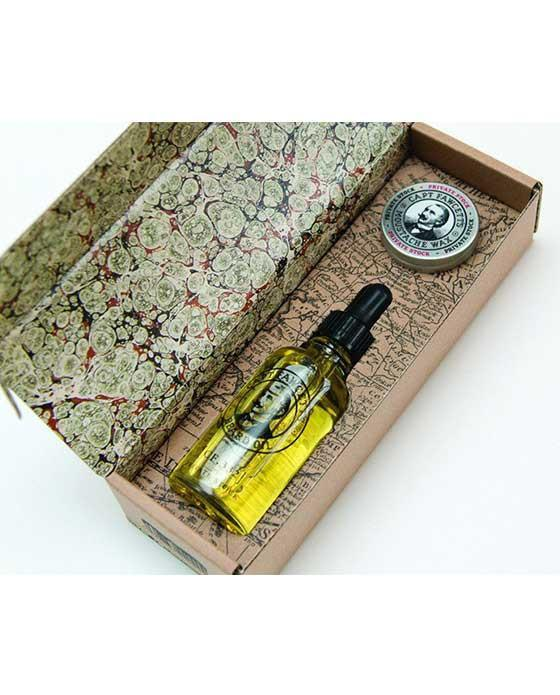 Captain Fawcett's Private Stock Beard Oil & Moustache Wax Gift Set, Beard Care