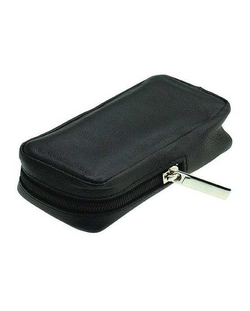 Merkur Zippered Leather Case For Safety Razors, Black, Dopp Bags