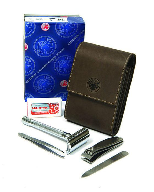Dovo Razor and Manicure Set in Brown Leather Case, Manicure Sets