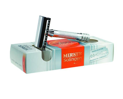 Merkur 33C Double Edge Safety Razor, Straight Cut, Chrome