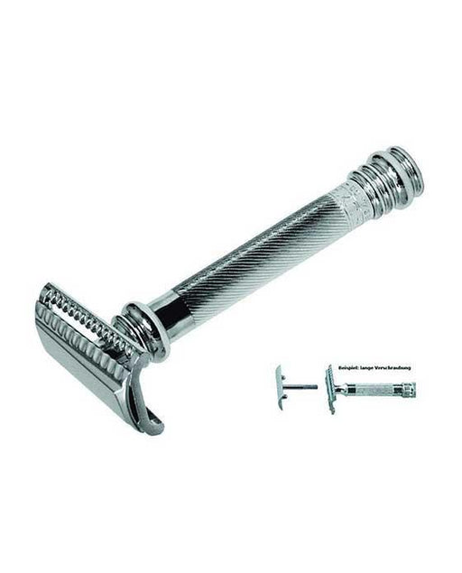 Merkur 39C Double Edge Safety Razor, Slanted Cut, Extra Long Handle, Chrome, Double Edge Safety Razors