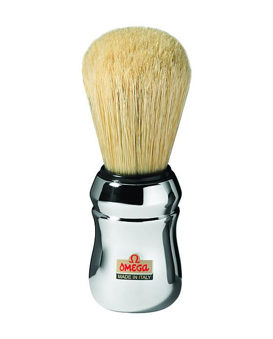 Omega Boar Bristle Shaving Brush With Chromed Plastic Handle, Shaving Brushes