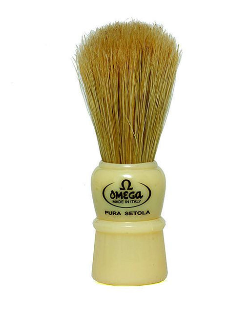 Omega 100% Boar bristle shaving brush, Plastic handle, Cream