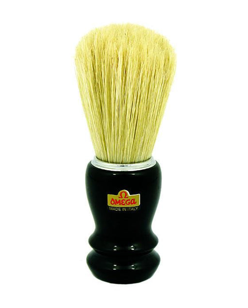 Omega Chrome Rimmed, Black Handled Boar Hair Professional Shaving Brush, Shaving Brushes