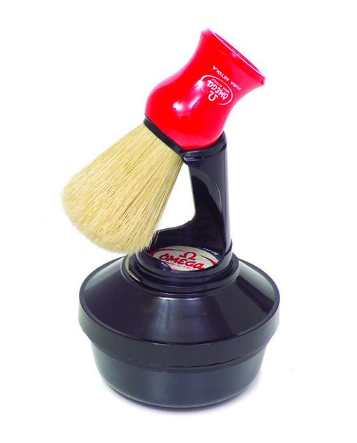 Omega Shaving Cream and Brush with Stand Kit, Shaving Brushes