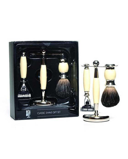 PureBadger Collection Cream 3pc Shaving Set, Faux Ivory Pure Badger Shaving Brush, Mach3 Razor & Stand, Cartridge Razors