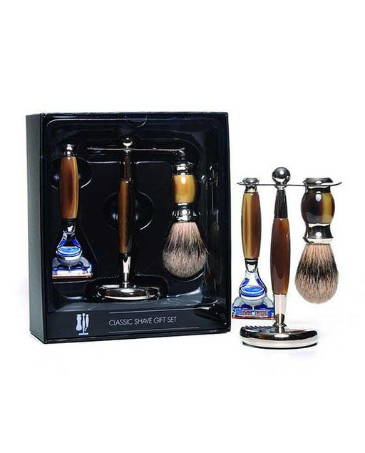 PureBadger Collection Brown 3pc Shaving Set, Faux Horn Silvertip Shaving Brush, Fusion Razor & Stand, Cartridge Razors