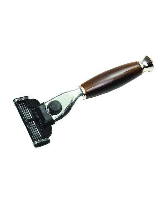 PureBadger Collection Shaving Razor Brown Handle - Mach3 Head, Cartridge Razors