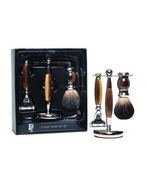 PureBadger Collection Brown 3pc Shaving Set, Faux Horn Pure Badger Shaving Brush, Mach3 Razor & Stand, Cartridge Razors