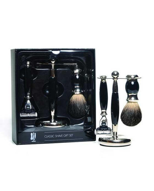 PureBadger Collection Black 3pc Shaving Set, Faux Ebony Badger Shaving Brush, Mach3  Razor & Stand, Cartridge Razors