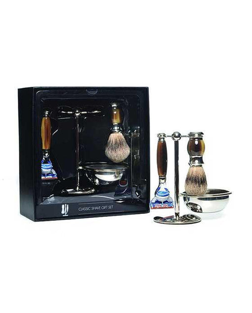 PureBadger Collection Brown 4pc Set, Faux Horn Silvertip Shaving Brush, Fusion Razor, Stand & Bowl, Cartridge Razors