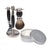 Black 3pc Shaving Set with a Faux Ebony PureBadger Shaving Brush, LEA Classic Shaving Cream in Metallic Tub