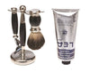 Black 3pc Shaving Set with a Faux Ebony PureBadger Shaving Brush LEA Classic Shaving Cream in a tube,