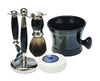 Black 3pc Shaving Set with a Faux Ebony PureBadger Shaving Brush, Black Shave Mug and LEA Classic Shaving Soap Puck,