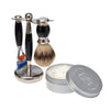 Black 3pc Shaving Set with a Faux Ebony Silvertip Shaving Brush, LEA Classic Shaving Cream in Metallic Tub,