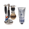 Black 3pc Shaving Set with a Faux Ebony Silvertip Shaving Brush, LEA Classic Shaving Cream in a tube,