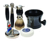 Black 3pc Shaving Set with a Faux Ebony Silvertip Shaving Brush, Black Shave Mug and LEA Classic Shaving Soap Puck,