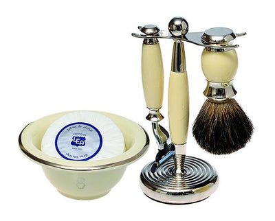 Cream 3pc Shaving Set with a Faux Ebony PureBadger Shaving Brush, Cream Shave Bowl and LEA Classic Shaving Soap Puck