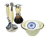 Cream 3pc Shaving Set with a Faux Ebony PureBadger Shaving Brush, Cream Shave Bowl and LEA Classic Shaving Soap Puck,