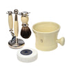 Cream 3pc Shaving Set with a Faux Ebony PureBadger Shaving Brush, Cream Shave Mug  and LEA Classic Shaving Soap Puck,
