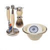 Cream 3pc Shaving Set with a Faux Ivory Silvertip Shaving Brush, Cream Shave Bowl and LEA Classic Shaving Soap Puck,