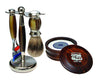 Brown 3pc Shaving Set with a Faux Horn Silvertip Shaving Brush and a LEA Classic Shaving Soap in Wooden Bowl,