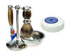 Brown 4pc Set with a Faux Ebony Silvertip Shaving Brush and a LEA Classic Shaving Soap Puck,