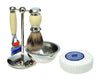 Cream 4pc Set with a Faux Ebony Silvertip Shaving Brush and a LEA Classic Shaving Soap Puck,