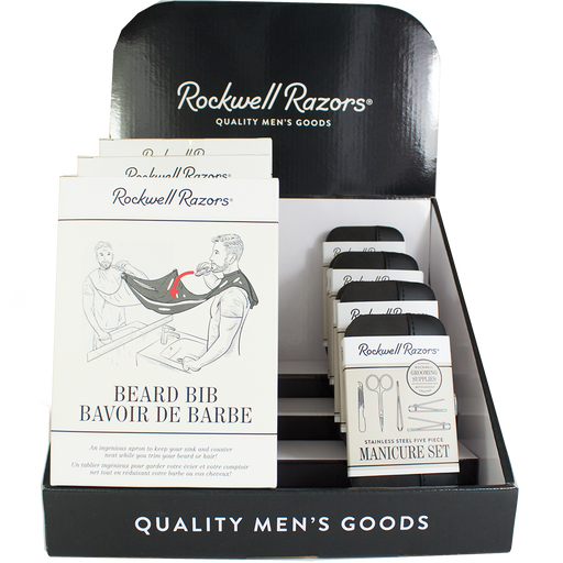 Rockwell Razors Beard Bib and Manicure set Display Bundle, Retail Displays