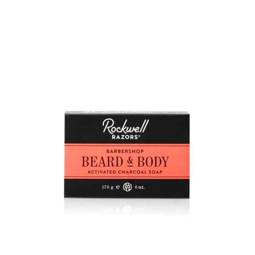 Rockwell Razors Beard & Body Activated Charcoal Soap Barbershop Scent, Bar Soaps