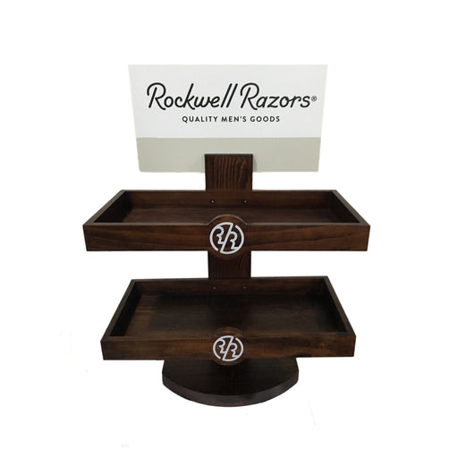 Rockwell Razors Empty Retail Two-Level Wood Display, Retail Displays