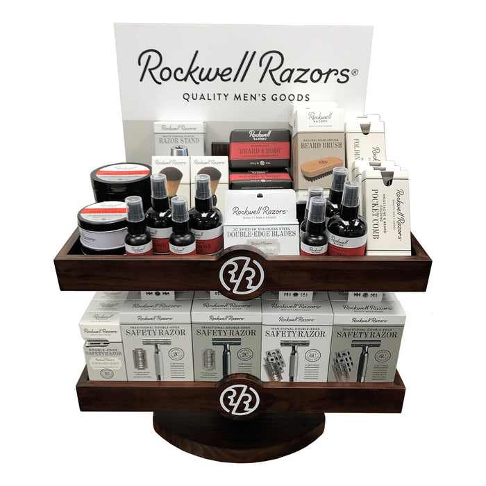 Rockwell Razors Shave, Beard & Grooming Supplies in Two-level Wood Display, Retail Displays