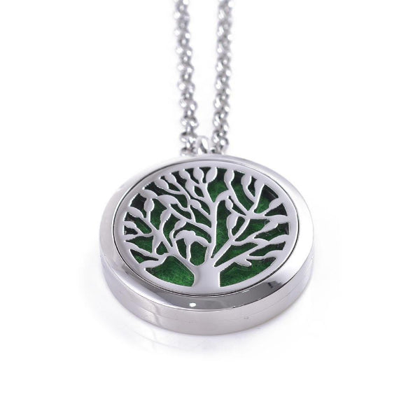 Tree Of Life Stainless Steel Oil Diffuser Necklace The Oil Diffusery