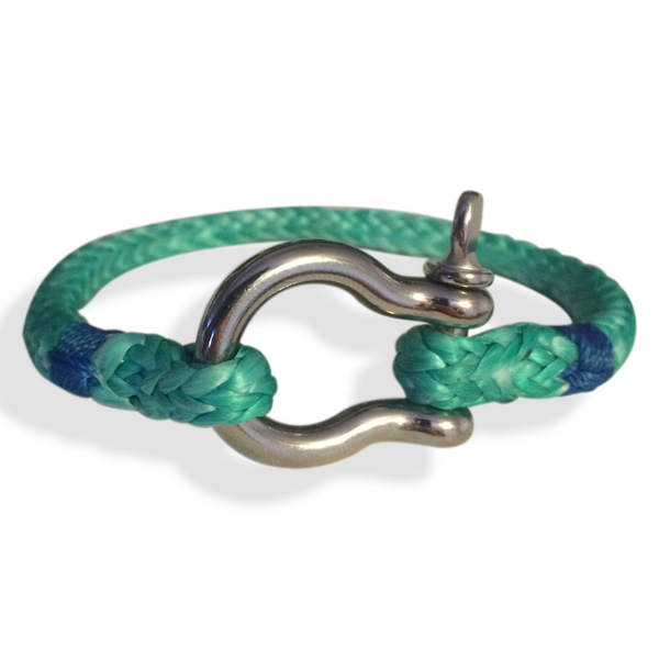 "Shackle Rope Bracelet, Downhaul Style, 6.5"" to 8"" Wrist Size, Green"